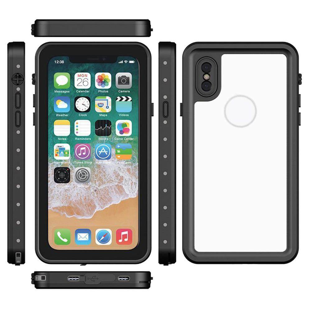 goplm 360° Anti Shock Air Bag Case Waterproof Full-protection Cover Bumper For Apple IPhone X - Clear Transparent Anti Fingerprint
