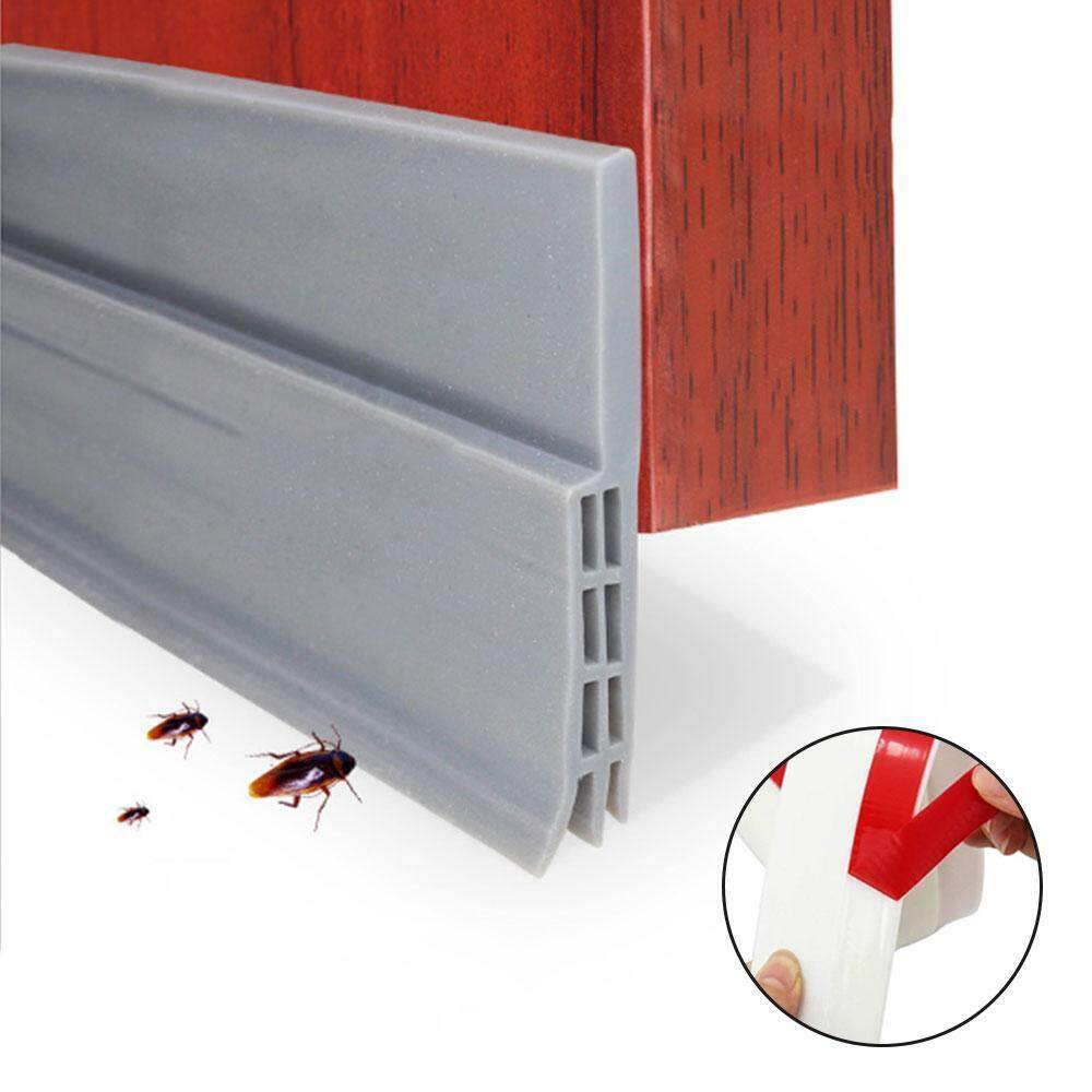 opoopv Self Adhesive Under Door Silicone Sweep Weather Stripping Weatherproof Doors Bottom Seal Strip Insulation Draft Stopper Noise Reduction Dustproof Weatherstrip - intl