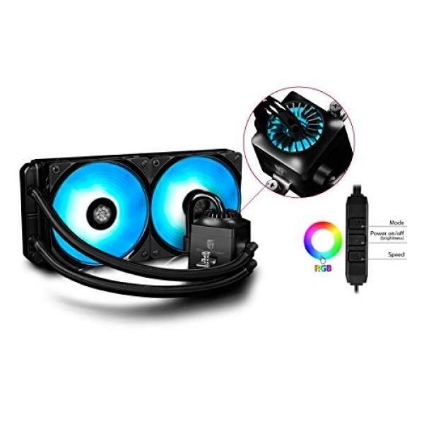 Deepcool Liquid CPU Cooler, Gamer Storm Kapten 240 RGB Penggemar, Sinkron RGB Penggemar dan RGB Waterblock, kabel Pengendali dan Motherboard Kontrol Perangkat Lunak Didukung, AM4 Kompatibel, Garansi 3 Tahun-Internasional