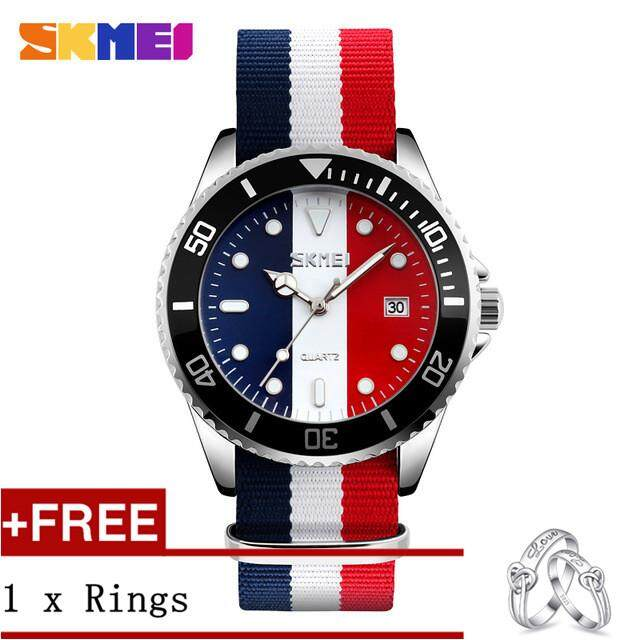 NanXiangZi SKMEI 9133 Men's Clock Quartz Watch Canvas Men's Waterproof Watch + Free a Couple Rings