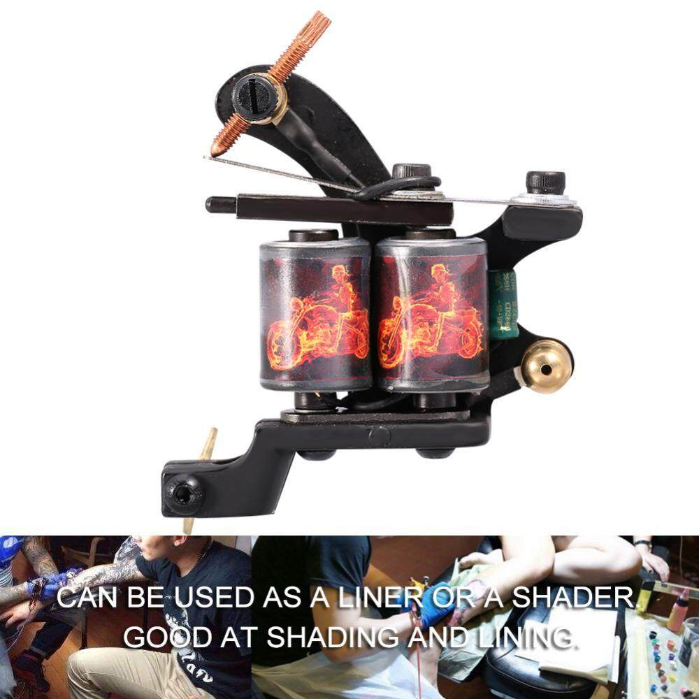 Professional 10 Warp Coil Tattoo Machine Dragon Fire Pattern Tattoo Shader Liner -