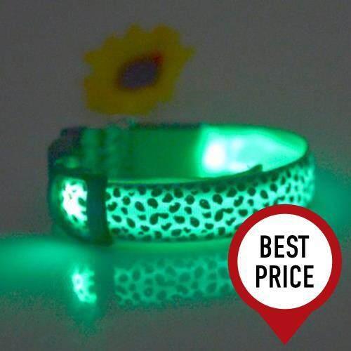 LEOPARD PRINT LED COLLAR LUMINOUS PUPPY NECKLACE PET DECORATIVE PROPS (GREEN)