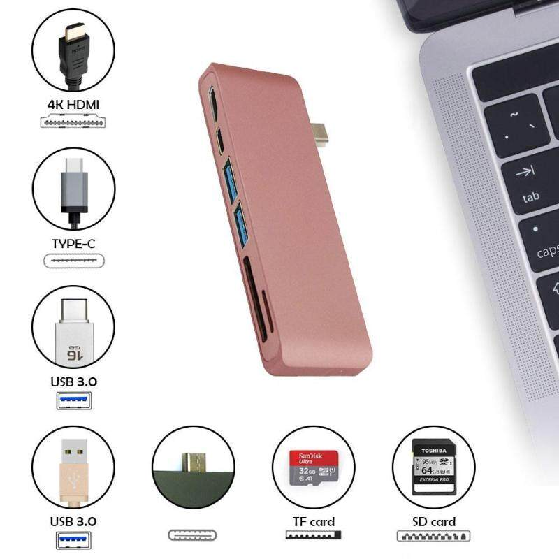 linxing Type-C USB 3.0 6 In 1 Combo Hub For Laptops, Aluminum Multi-Port Adapter With USB-C Charging Port, Type-C Pass Through, 2 USB 3.0 Ports, HDMI 4KSD/Micro Card Reader (Rose)