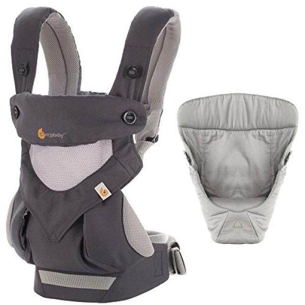 Ergobaby Bundle - 2 Items: Carbon Grey All Carry Position 360 Baby Carrier, Easy Snug Infant Insert Grey - intl
