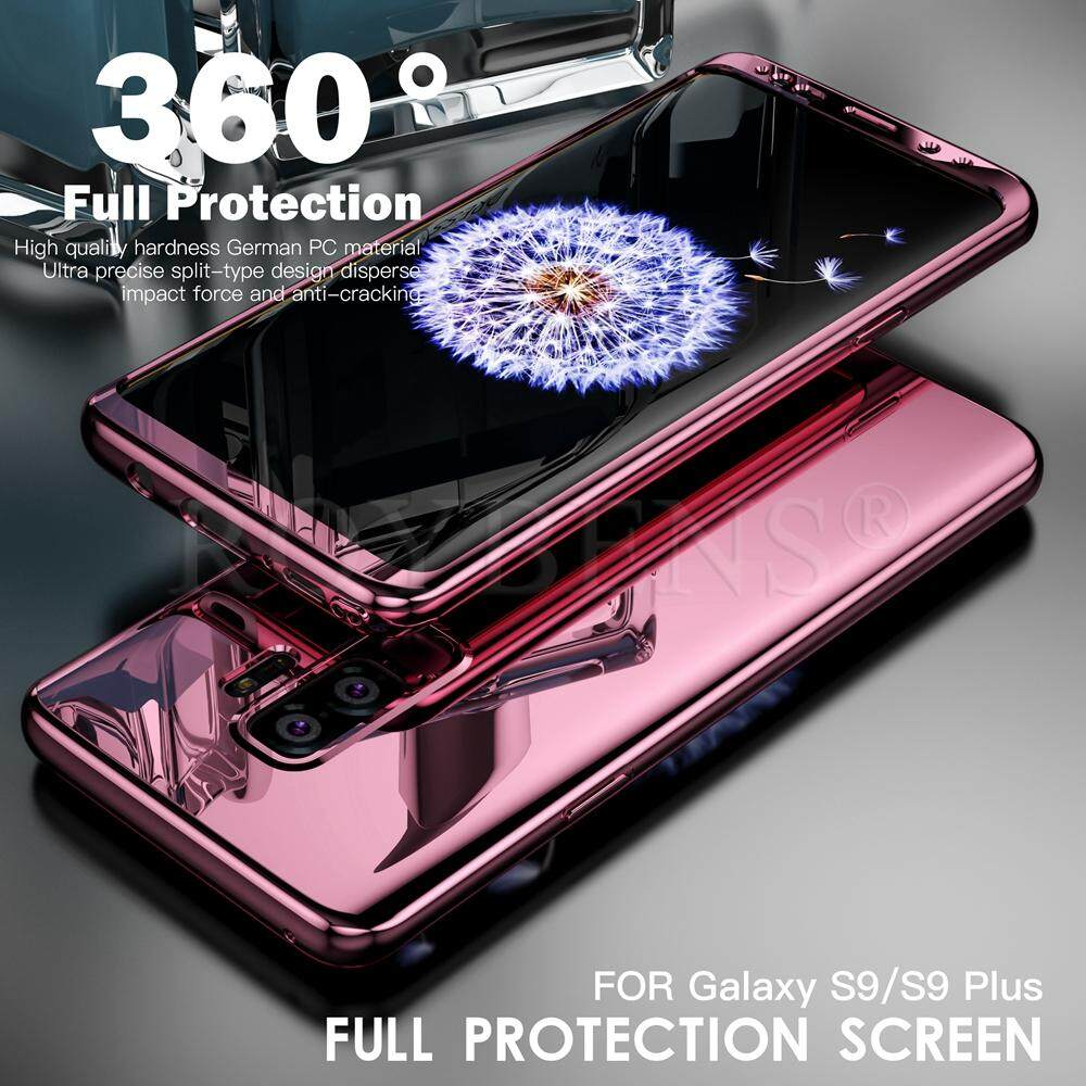 Roybens 360° Shockproof Slim Hard Mirror Case+Screen Protector Cover For Samsung Galaxy S9