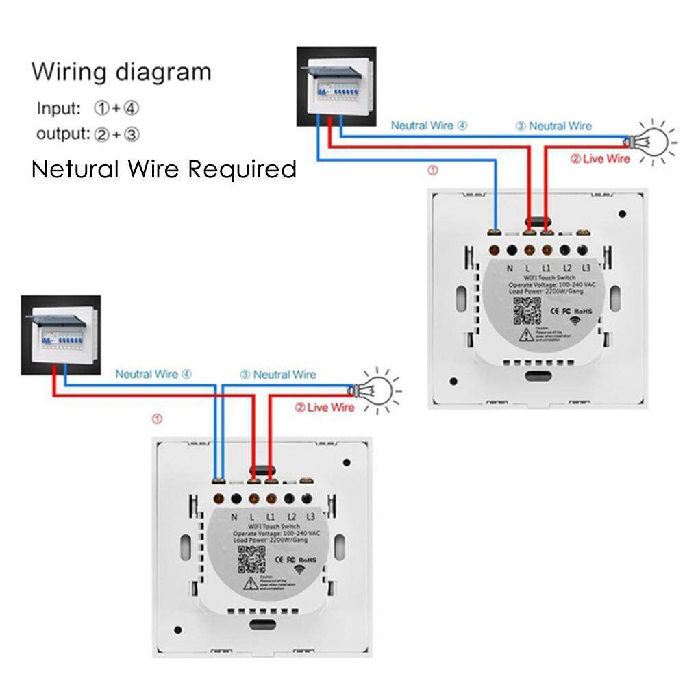 Fitur Womdee 1 Gang Wifi Light Touch Smart Switch Glass Wiring A Panel Wire