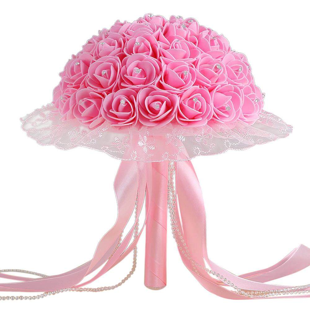 Crystal Lace Roses Bridesmaid Wedding Bouquet Bridal Artificial Silk Flowers - intl