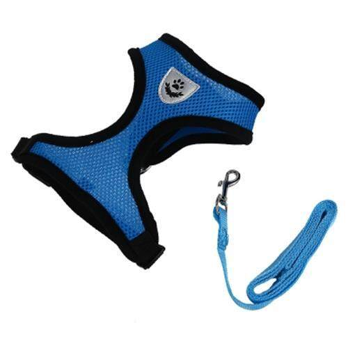 KIMPETS PET HARNESS LEASH SOFT MESH DOG CAT VEST (BLUE)
