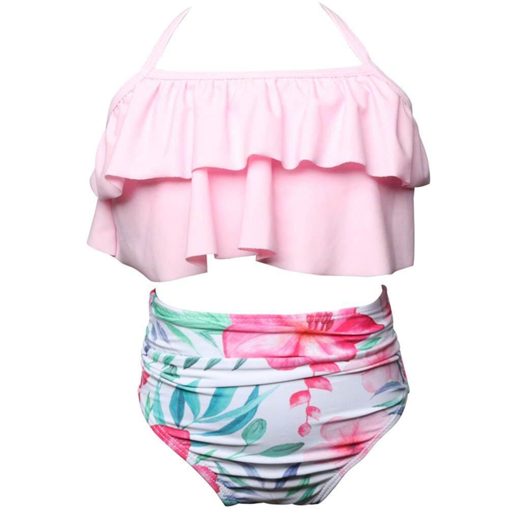 Mom + ชุดว่ายน้ำสำหรับเด็กชุด Ruffle Bra + กางเกงขาสั้นเอวสูงชุดบิกินี่.