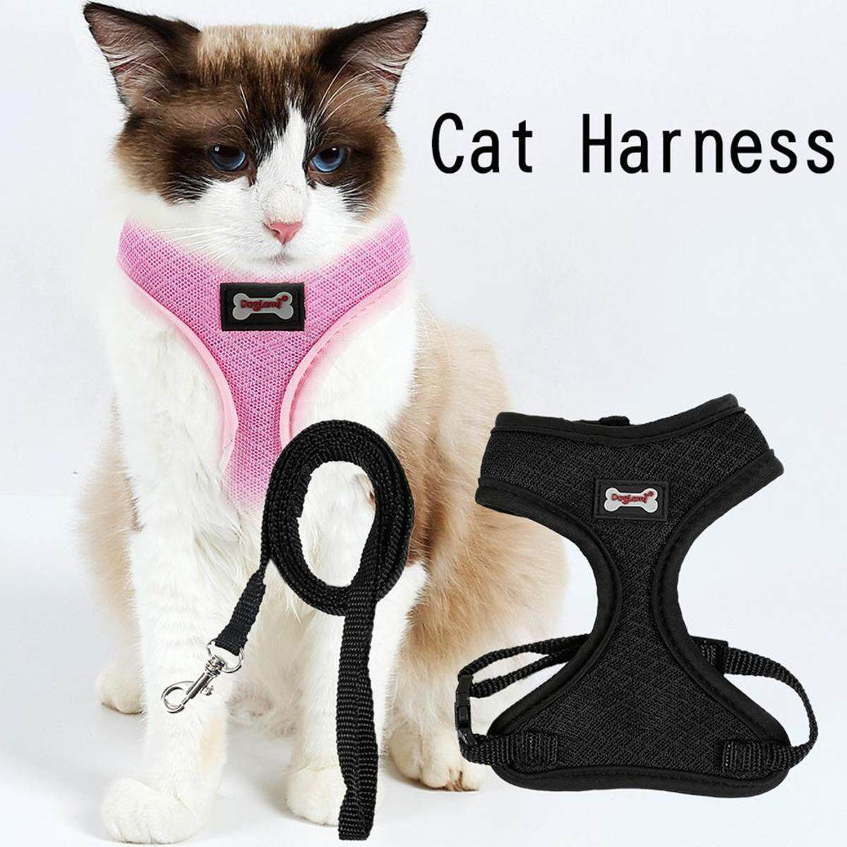 Adjustable Pet Dog Cat Lead Leash And Soft Mesh Walking Harness Vest Apparel By Ferry.