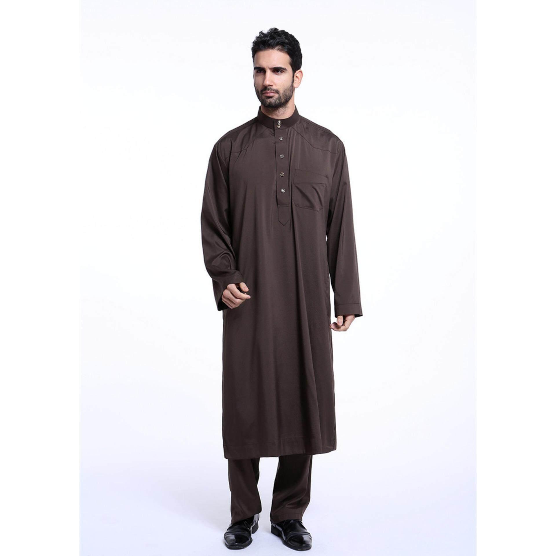 2017 Fashion Men Muslim Wear Muslimin Shirts Poly cotton Shirt Collar Shirt + trousers suit Coffee - intl