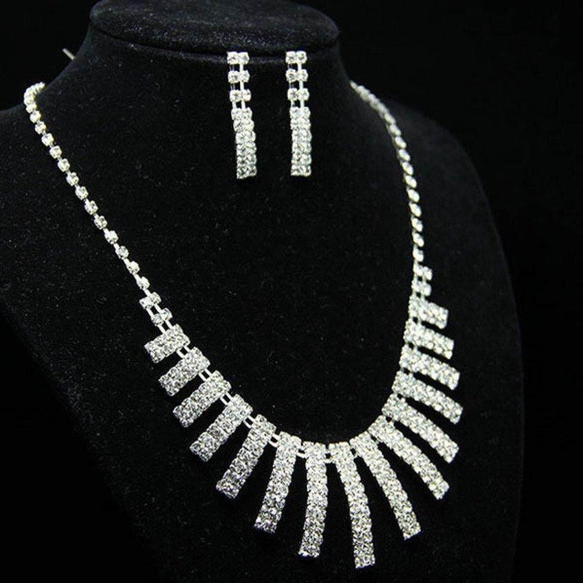 Leadingtrust New Elegant Luxurious Diamante Rhinestone Necklace Earring Set Wedding - intl