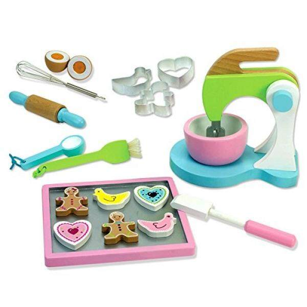 Sophias Childrens Wooden Play & Pretend Food Set, Cookie Baking Set with Cookies, Tray, Bowl, Mixer & More! Wood Play Food Cookie Baking Set - intl