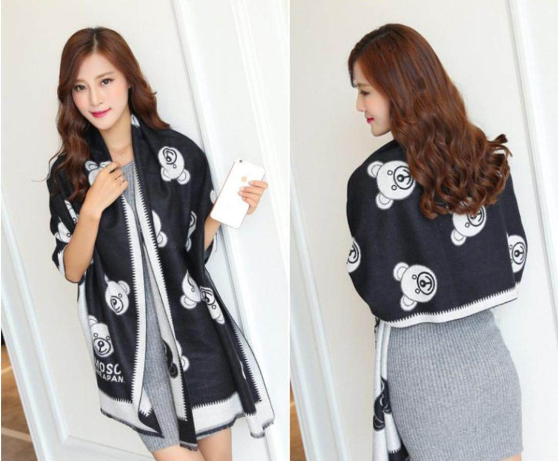 Ultra Soft Women Double Face Bear White and Black 2 sided Wear Scarves Shawl