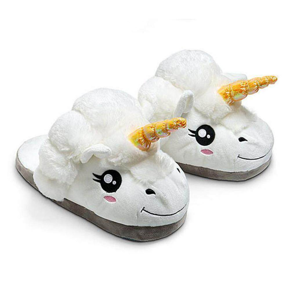 akerfush White Plush Unicorn Slippers, One Size - intl