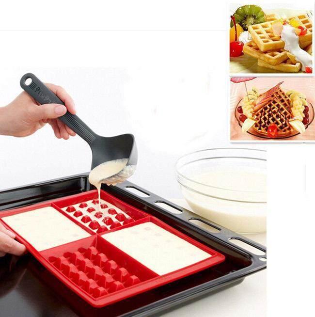 1 Pcs 4 Cavity Waffles Chocolate Cake Pan Silicone Mold Baking Mould Kitchen Tool