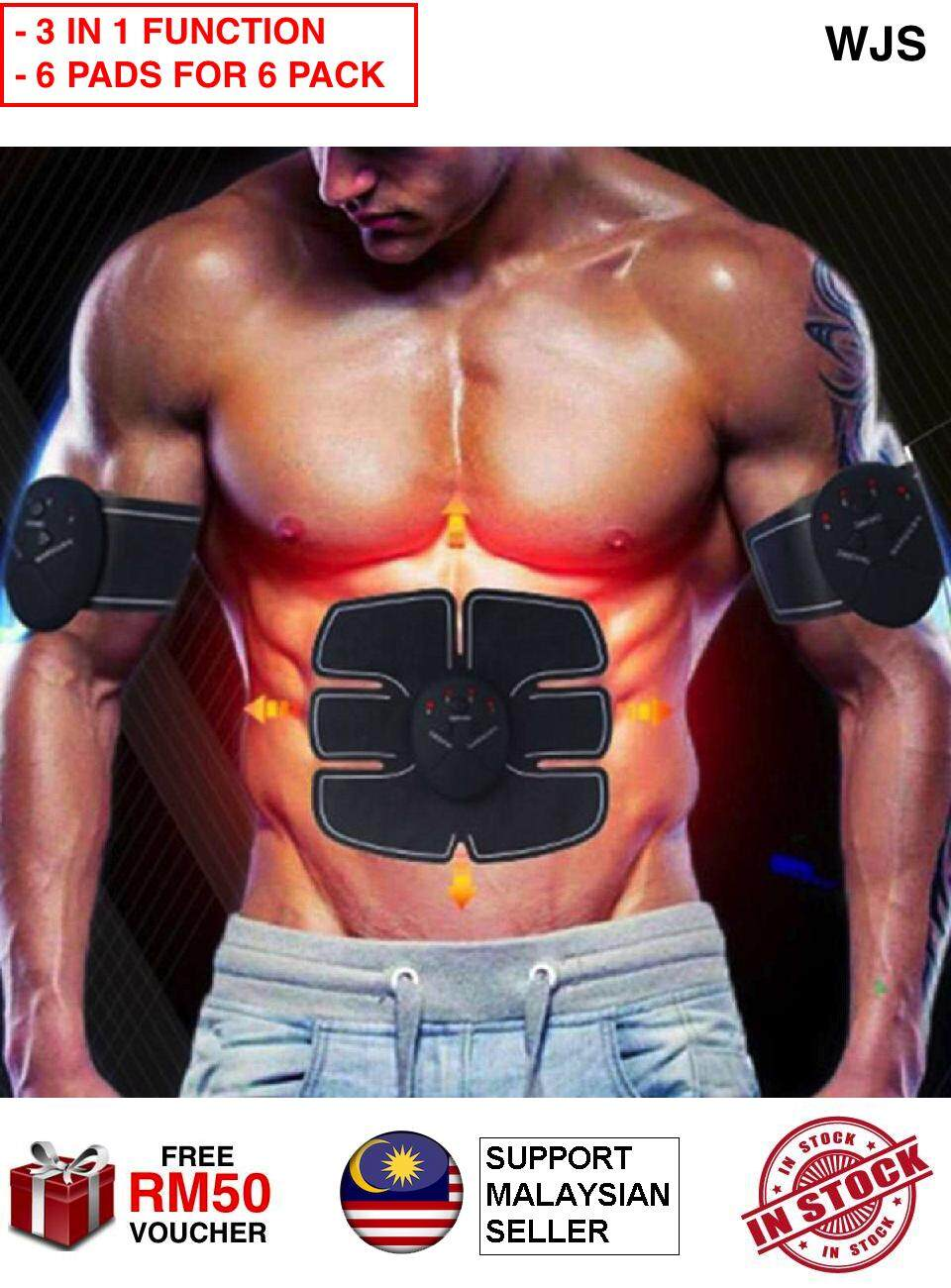 (3 IN 1 FUNCTION WITH 6 PADS) WJS 3pcs 3 pcs Portable Flexible Abdomen Stimulator Muscle Training Body Shape Fit Set Abs Six Pad for Six Packs 6 Pack 6 Packs Massage Trainer Sticker Controller Abs Trainer Abdomen Trainer Home Gym (FREE RM 50 VOUCHER)