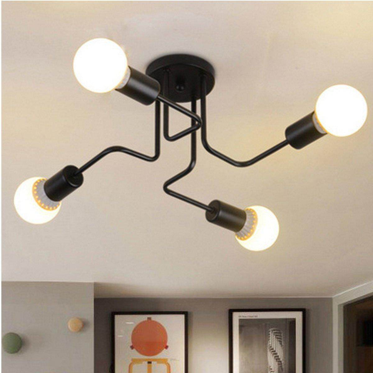 Retro ceiling light modern vintage industrial metal e27 pendant lamp 4 way black intl