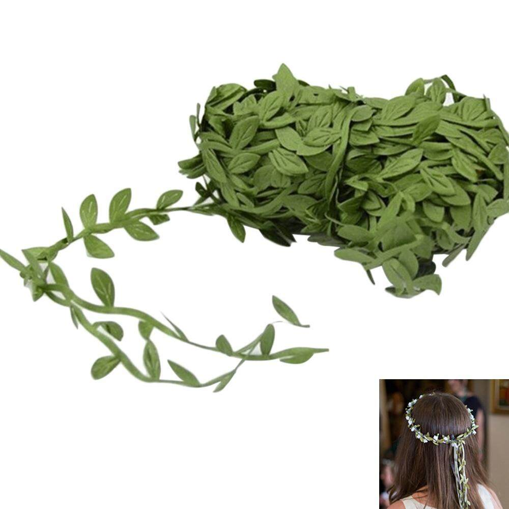 noonbof DIY Simulation Willow Wicker Leaf Vines Ribbon for Home Decoration,Woven Garlands,Green,20M