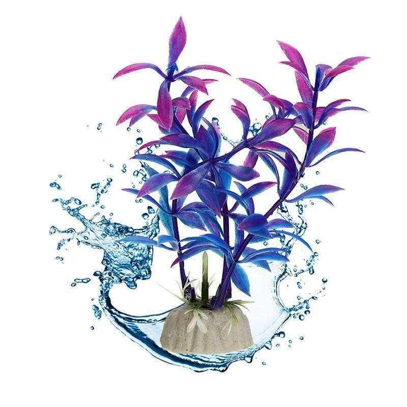 Detail Gambar Ungu Akuarium Buatan Dekorasi Tanaman Rumput Kolam Ikan Bunga Dekorasi Hiasan Air Aksesori Binatang-Intl Terbaru