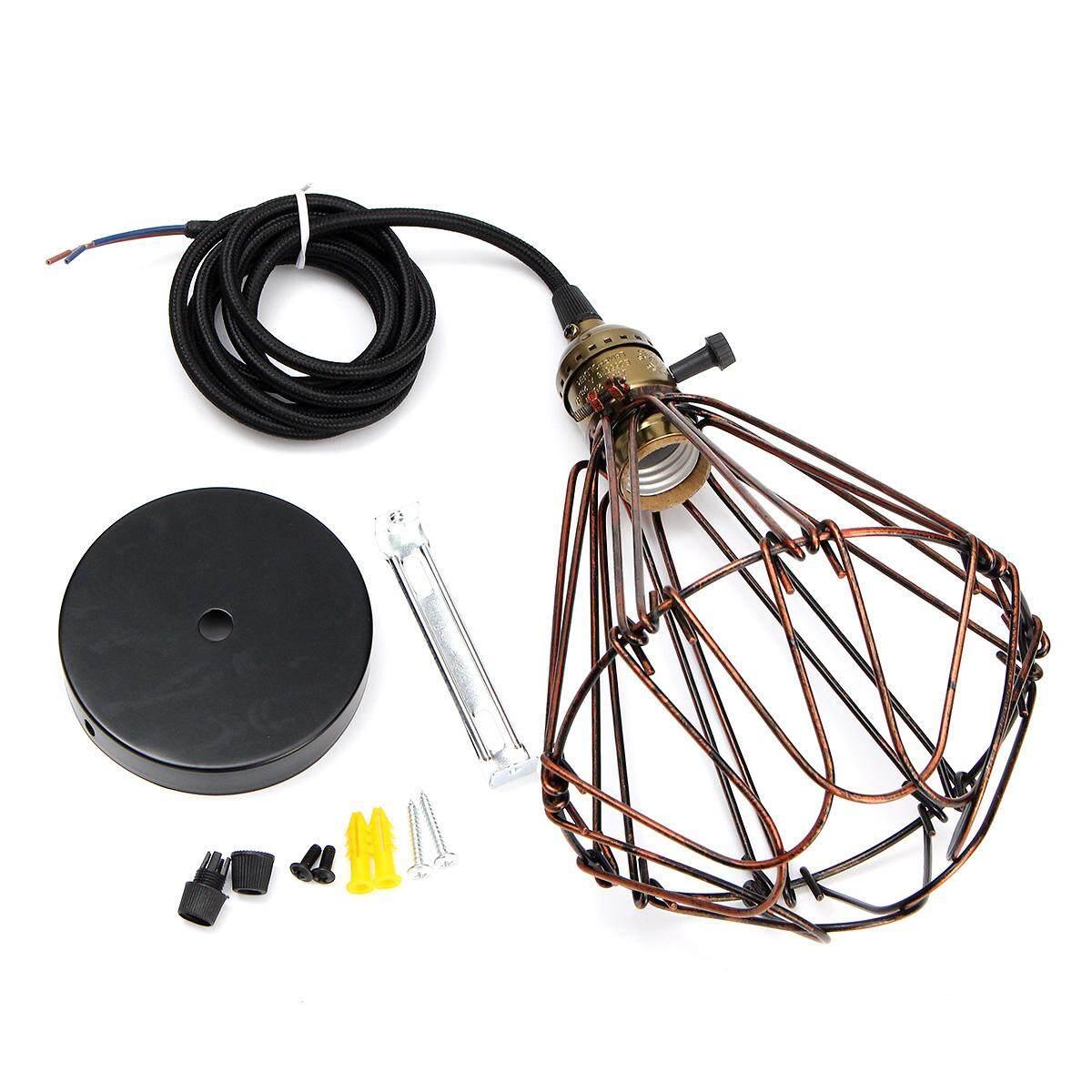 วินเทจอุตสาหกรรม Retro Dimmable E27 โคมไฟแขวนเพดานโคมไฟระย้า (สีน้ำตาล) - Intl.