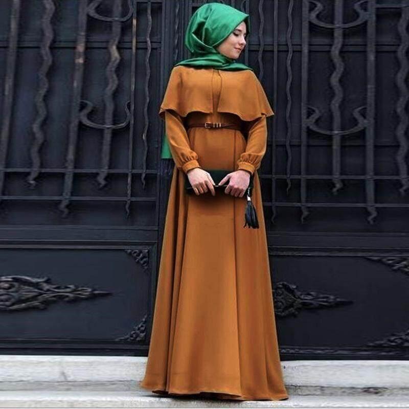 Lissng 1 Pcs Muslim Gaun Cape Sifon Plus Ukuran Wanita Retro Gaya Rakyat Jubah Lengan Panjang Partai Gaun Tinggi kualitas
