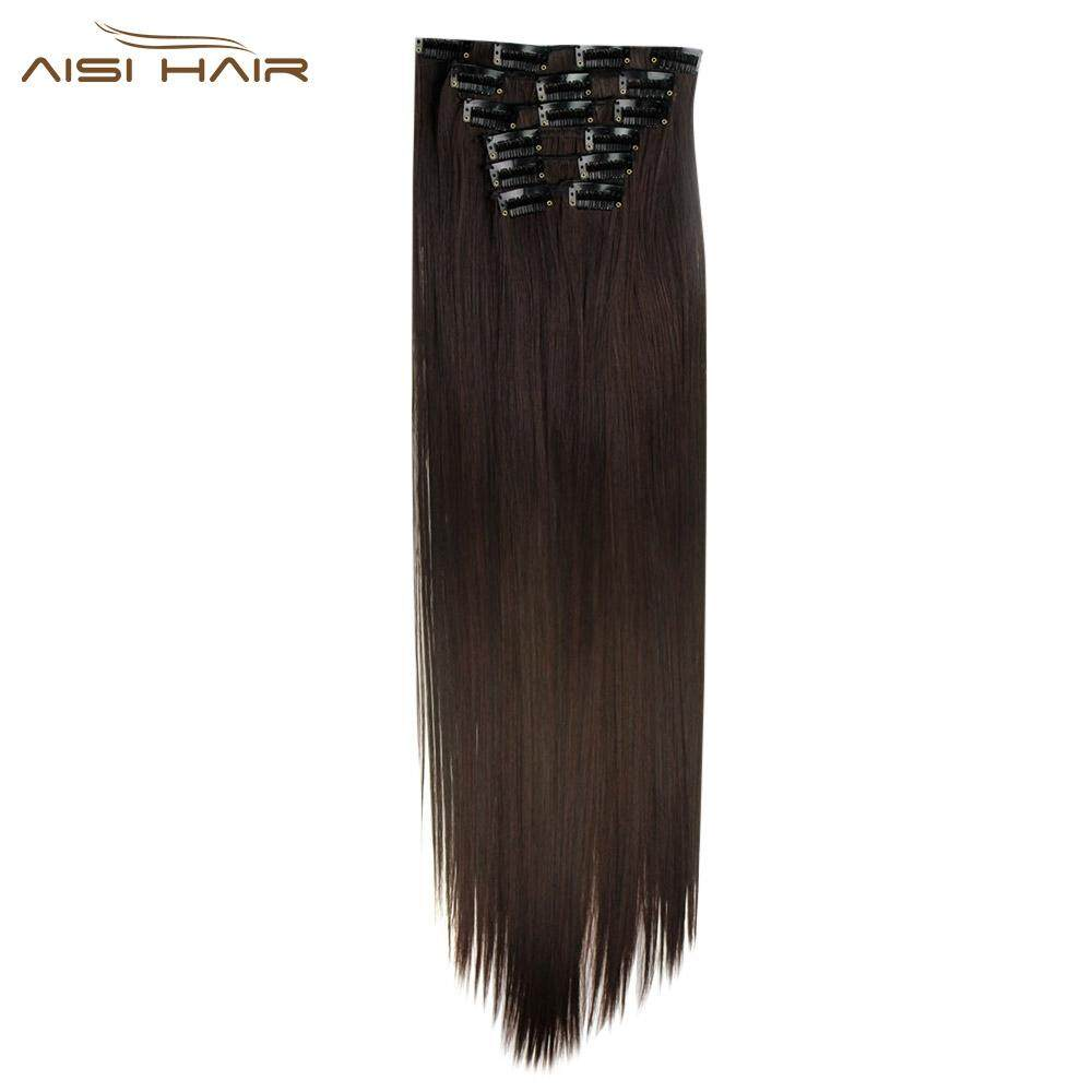 AISI HAIR 16 Clips Heat Resistant Straight Long Hair Extensions (#6)
