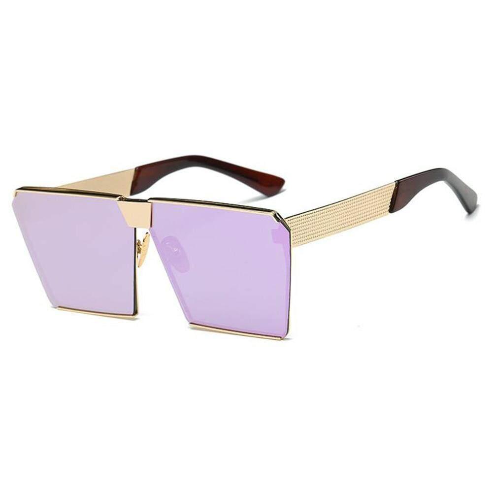 Dsstyles Wanita Oversized Persegi Kacamata Hitam Bingkai Logam Datar Terbaik Jalanan Modis Kacamata Hitam Lensa Warna: gold Bingkai Ungu Film Keterangan: Non-polarized-Internasional