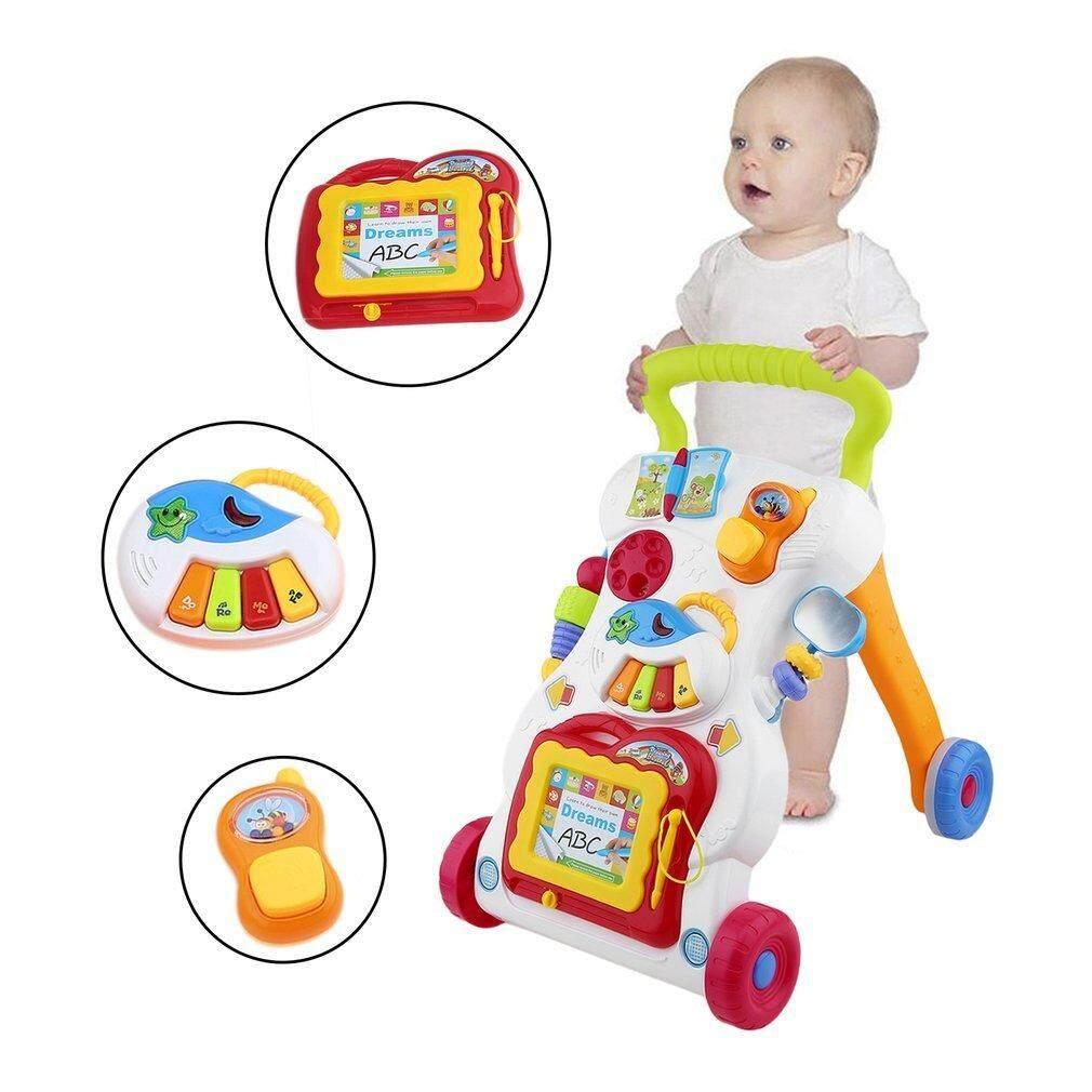 GETEK Baby Walker Multifunctional Toddler Sit-to-Stand Walker with Adjustable Screw
