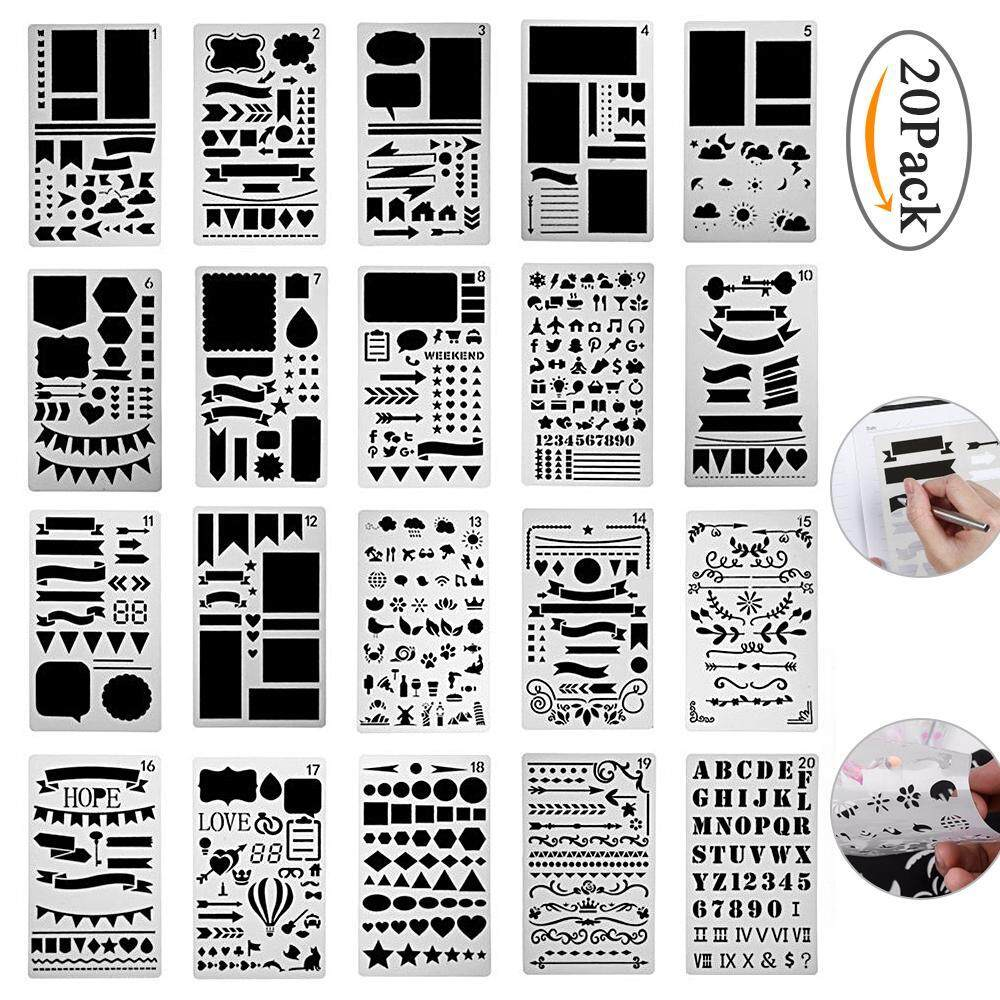 yaobang 20pcs DIY Drawing Painting Template Stencil For Journal Graphics Stencils DIY Photo Album Notebook Diary Scrapbook And Craft Projects - intl