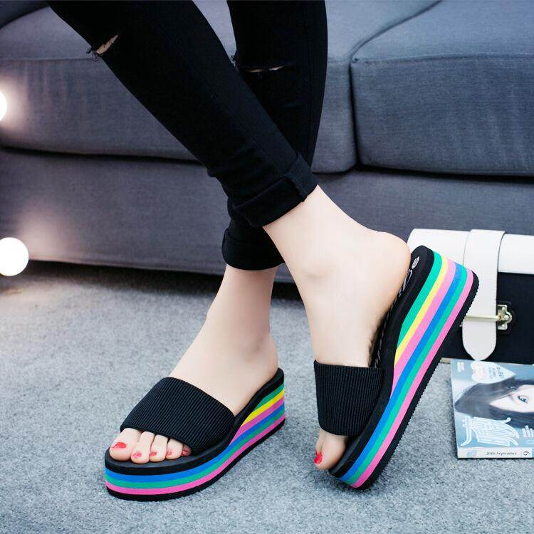 Bolster Store Women Ladies Cute Rainbow Colour Wedges Casual Sandals High Heels Slipper Wanita Kasut Selesa Selipar Tinggi Selipar Cake