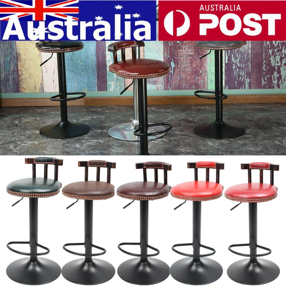 Adjustable Retro Metal Craft Bar Stool Furniture Swivel Cafe Counter Chair 250LB Brown Claret