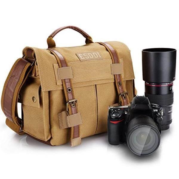 Esddi Kamera DSLR Antik Messager Tas dengan Dapat Dilepaskan Memasukkan untuk Canon Nikon Sony Pentax, Penggunaan Sehari-hari Tanpa Memasukkan, khaki Cokelat-Internasional