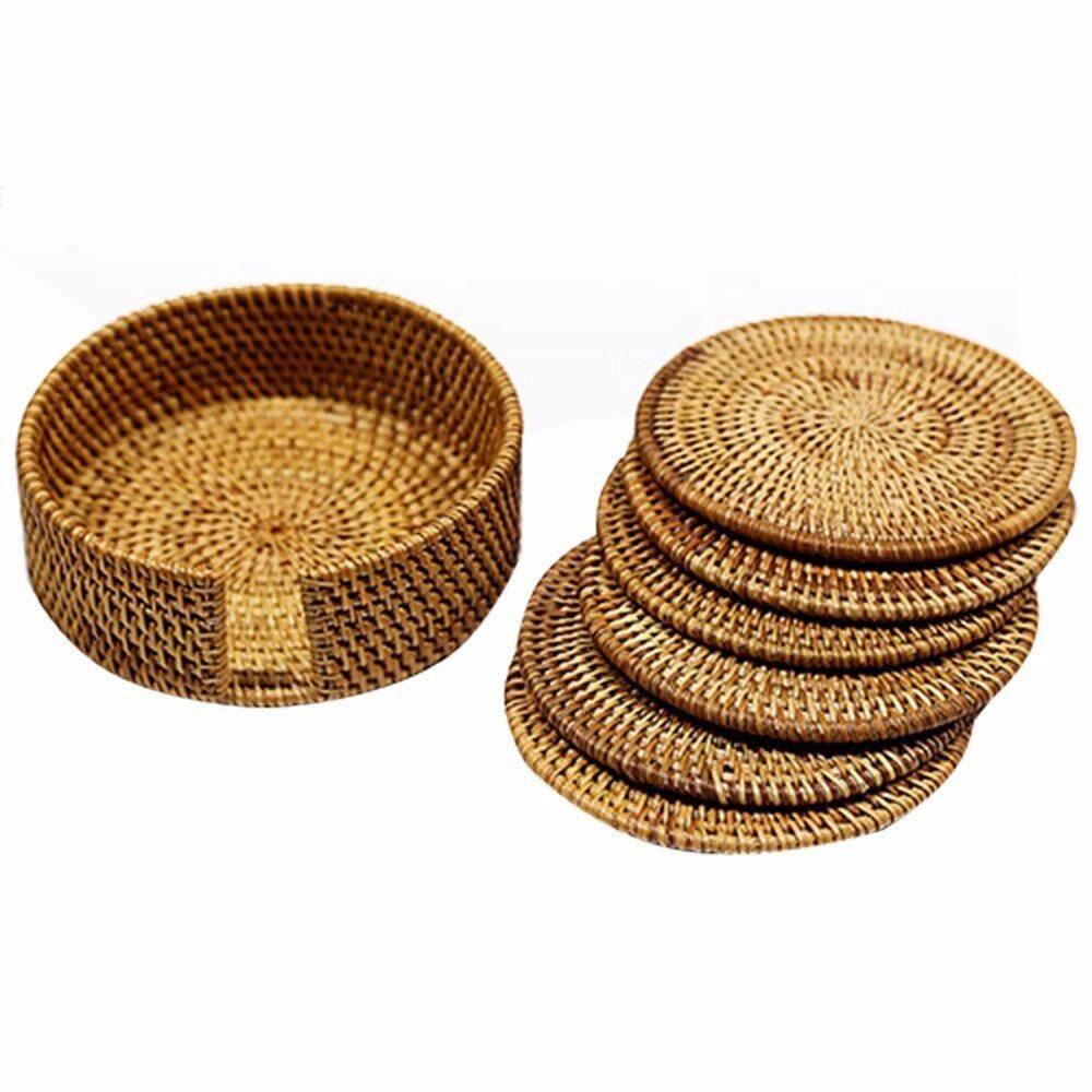 Mylifeunit Wood Coaster Penahan Perlengkapan, Rotan Anyaman Tangan Teko Coaster, Rumah Dekor Sepanjang Coasters (6 Pcs) -Internasional