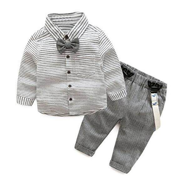 Tem Doger Tem Doger Baby Boys Long Sleeve Woven Striped Shirt+Bowtie+Suspender Pants With Straps Outfit - intl