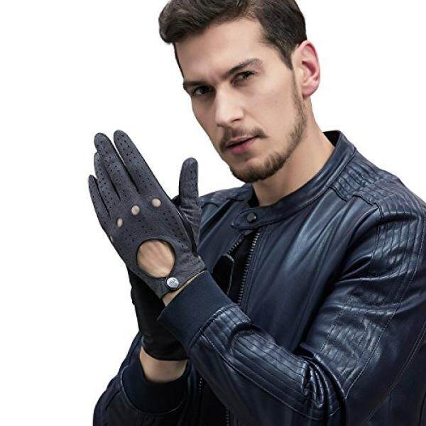 GSG Punk Rock Touchscreen Driving Motorcycle Gloves Mens Black Gloves Genuine Leather Perforated Full-Finger Backless Dance Show Birthday Gifts 9.5 - intl