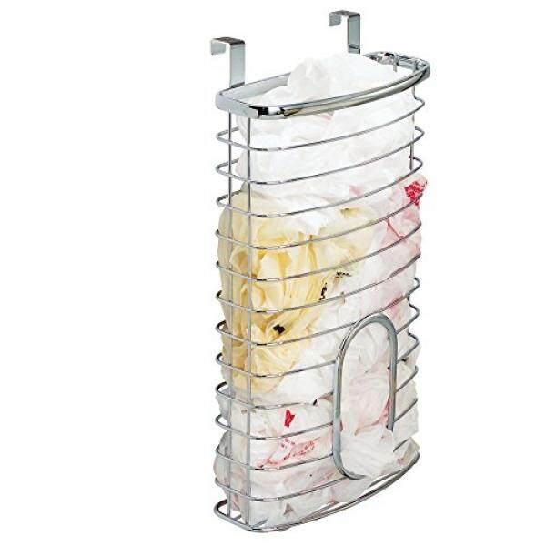 Mdesign Lebih Cabinet Dapur Penyimpanan Organizer Penahan atau Keranjang Gantung Di Atas Pintu Lemari Di Dapur/Dapur-Memegang hingga 50 Tas Belanja Plastik-Polos Kawat Baja Di Krom Selesai-Internasional
