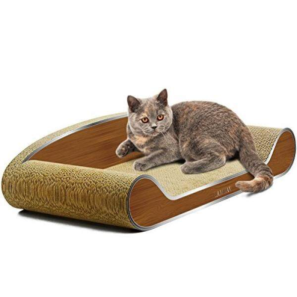 LAMBAW Cat Scratcher Couch Large Eco-friendly Corrugated Cardboard Scratching Pads Lounger Bed Kitty Playing Lounge Rest - Protect Furniture Keep Healthy Cat Claws - Metal Wood Grain - intl