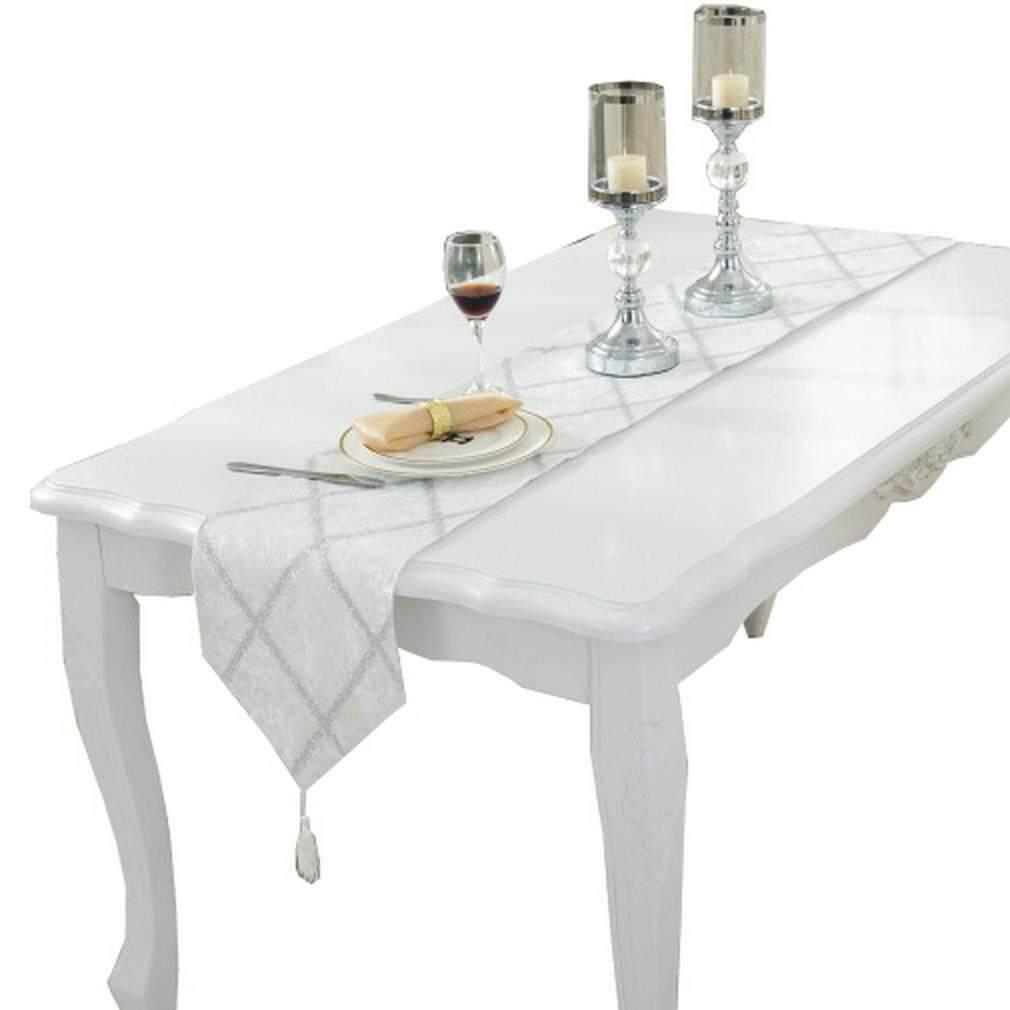 Smile YKK Tassels Table Runner Checkered Piano Cover For Party 28*180cm White - intl