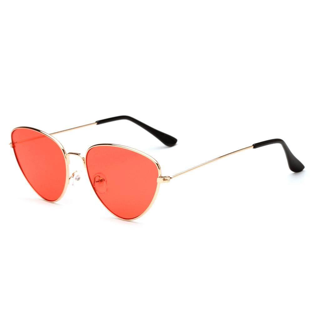 Dsstyles Bingkai Logam Kacamata Hitam Kucing Mata Lensa Datar Cermin Retro Modis Kacamata Hitam untuk Pria Wanita Warna Lensa: c2 Emas dan Jeli Merah-Internasional