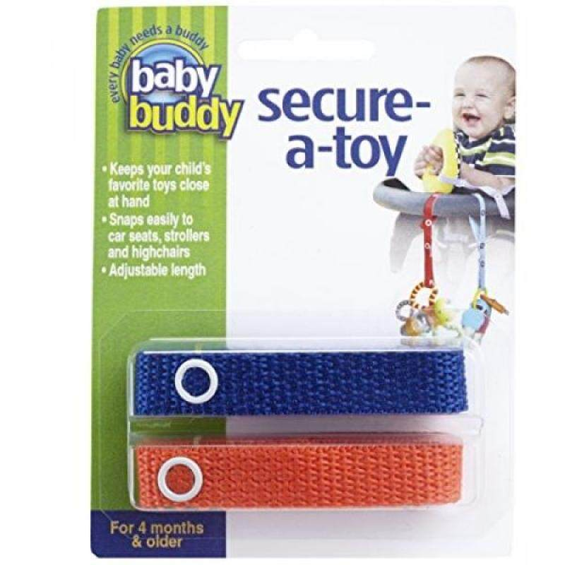 Baby Buddy Secure-A-Toy, Safety Strap Secures Toys, Teether, or Pacifiers to Strollers, Highchairs, Car Seats—Adjustable Length to Keep Toys Sanitary Clean Royal-Orange 2 Count Singapore