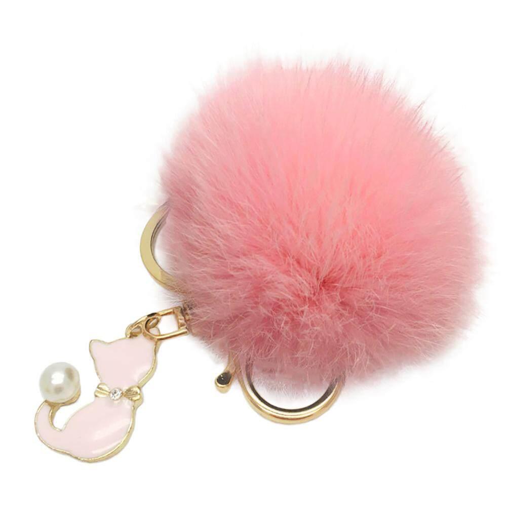 Bluelans Cute Cat Keychain Plush Ball Car Keyring Bag Pendant Charm Gift  Faux Pearl (Black 1221a42d73574