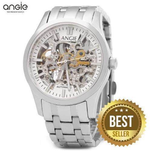 ANGIE ST7183L FREDERIS SERIES WOMEN AUTOMATIC WIND MECHANICAL WATCH LUMINOUS 5ATM HOLLOW DIAL SPORT WRISTWATCH (SILVER)