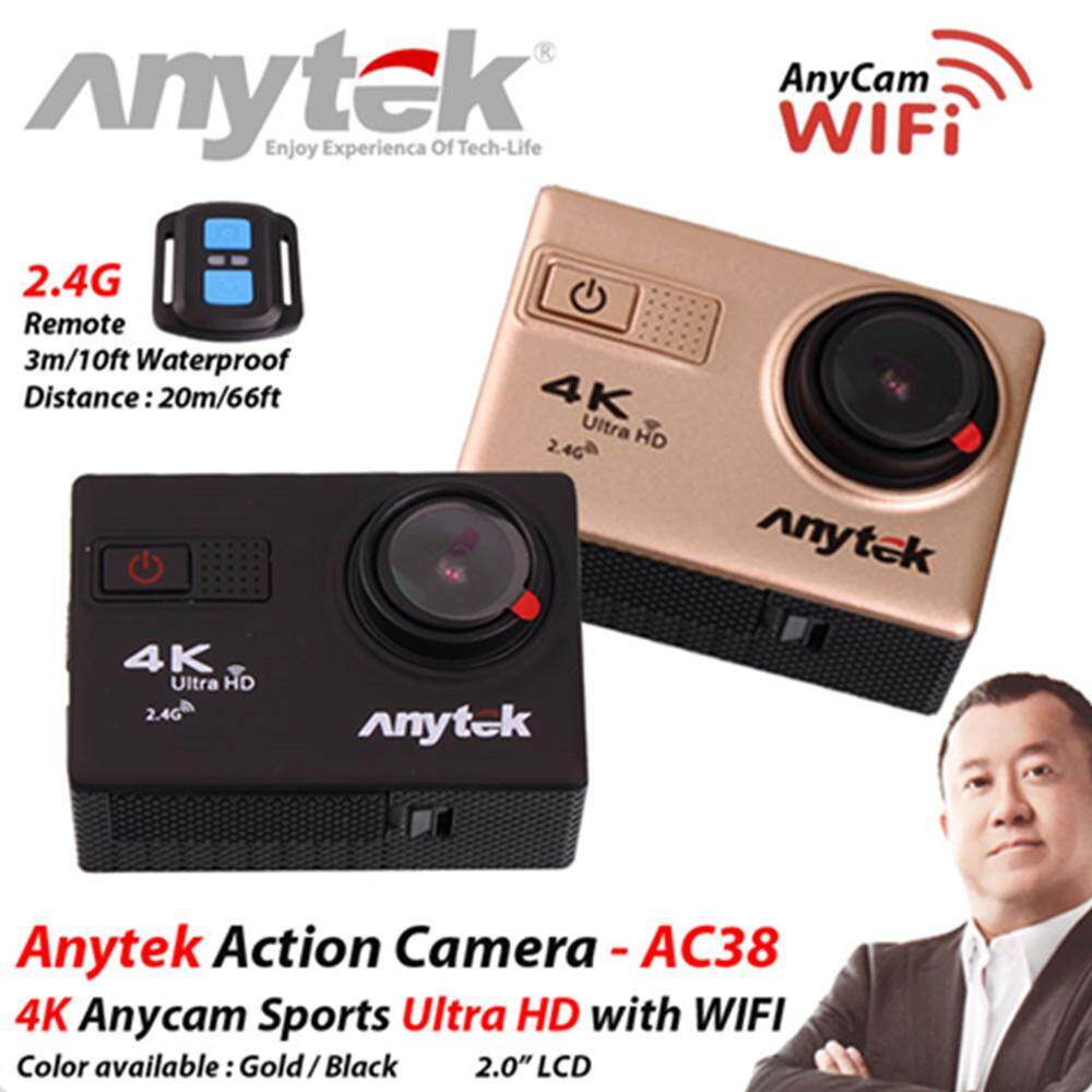 [GRAB Driver Exclusive] ANYTEK 4K AnyCam CAR DVR AC-38 3-in-1 Ultra HD Action Camera, Camera and DVR Function + 2 Free Gift (Gold)