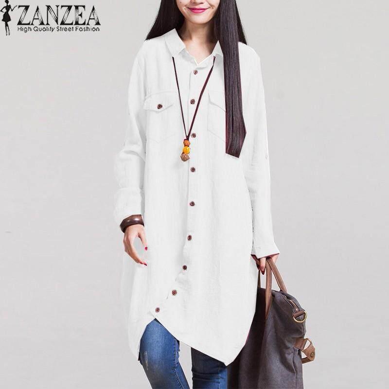 ZANZEA Fashion Autumn Hot Sale Women Blouses Long Sleeve Irregular Hem Cotton Solid Shirts Casual Loose Blusas Plus Size Tops (White)