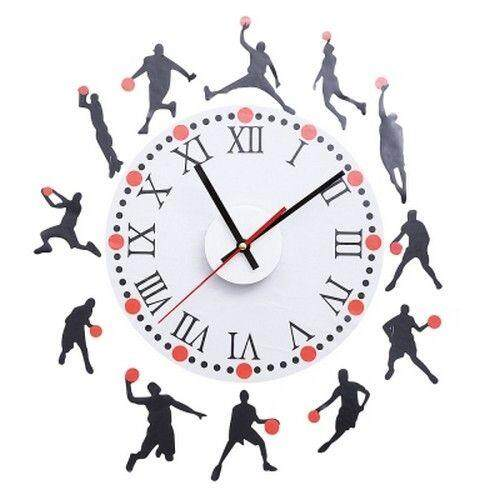 Hình ảnh Basketball Sketch Pattern Creative Removable Wall Clock Sticker Decal for Living Room Bedroom (RED)