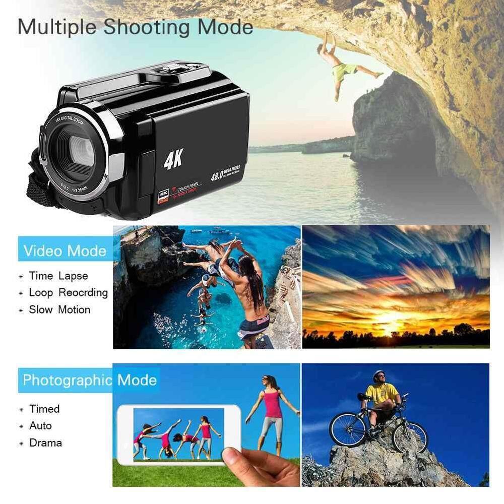 Fuan HDV-534K 4 K Kamera Camcorder, besteker HD 1080 P 24 MP 16X Digital Memperbesar Video Camcorder dengan LCD (Ini Adalah)