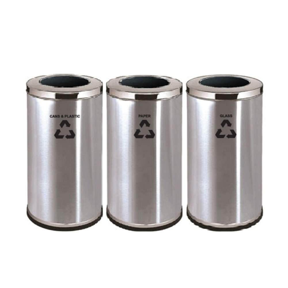 Rivershop 3 in 1 Multi-Purpose Stainless Steel Open Top Recycle Garbage Wastebin Dustbin Rubbish Trash for Home / Office / Restaurant / Commercial Tong Sampah Kitar Semula