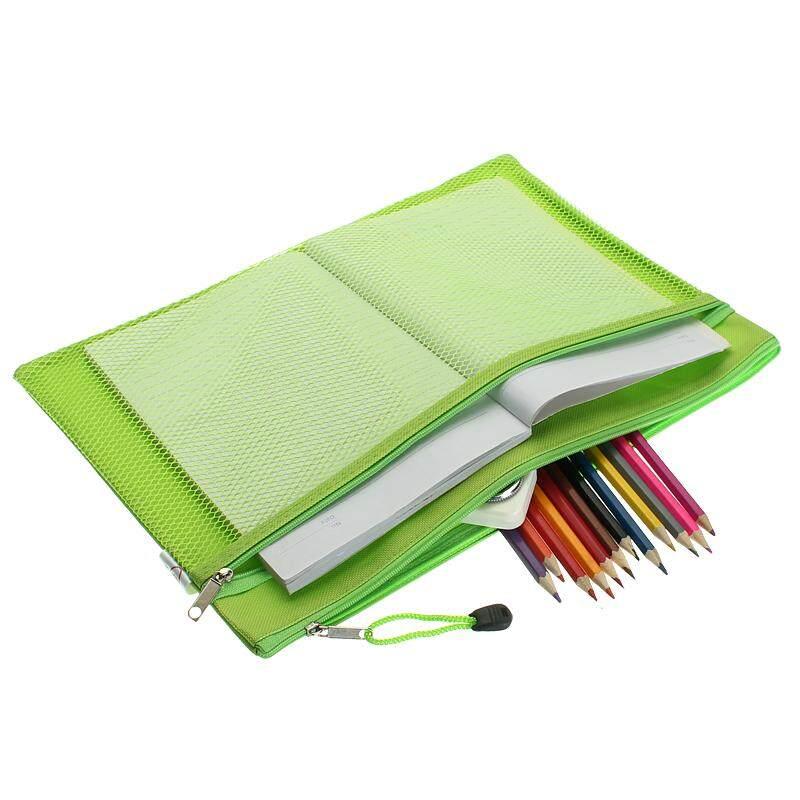 Mua Colorful Double Layer canvas Cloth Zipper Paper File Folder Book Pencil Pen Case Bag File Document Bags Green - intl