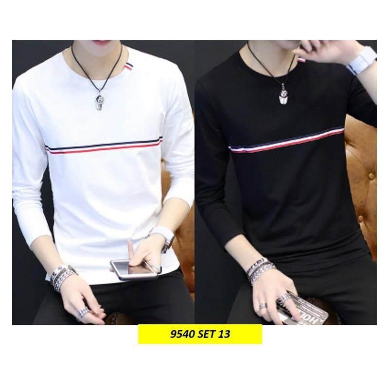 (Pre Order ETA 14/2) Korean Style Men Long Sleeve Shirt Collection 263-9540 Set13 (White and Black)